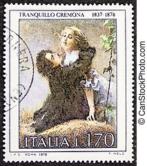 Tranquillo Cremona postage stamp - ITALY CIRCA 1978: a stamp...