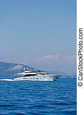 A large private motor yacht at sea