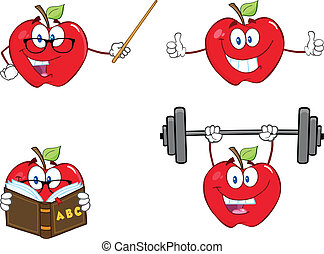 Apples Characters Set Collection 10 - Apples Cartoon Mascot...