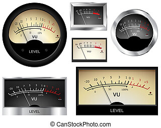 Audio Meters - Vector audio VU meters Different colors and...