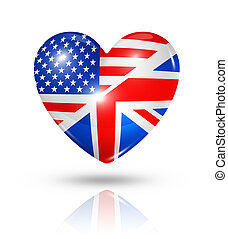 Love USA and UK, heart flag icon - Love USA and UK symbol....