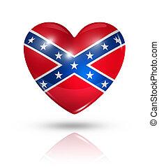 Love confederate, heart flag icon