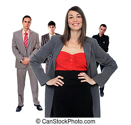 Four people business team over white background