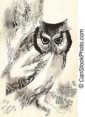 owl dry brush drawing sketch