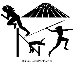 track and field - athletics running high jump javelin throw...