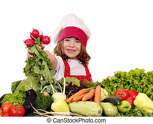 happy little girl cook with radish and vegetables