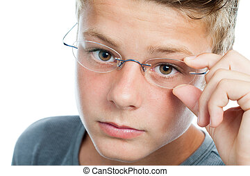 Face shot og boy wearing glasses - Macro face portrait of...