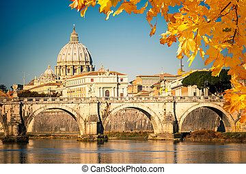 St Peters cathedral in Rome - View at Tiber and St Peters...