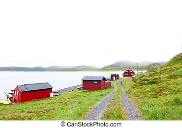 Fishing village in Norway - Picturesque fishing village with...