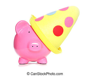 piggy bank wearing party hat