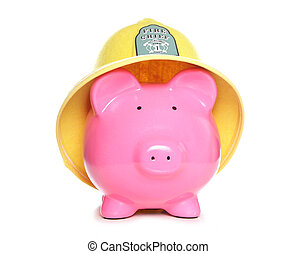 piggy bank wearing firemans hat on white background