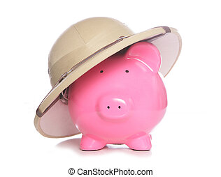 piggy bank wearing safari hat on white background