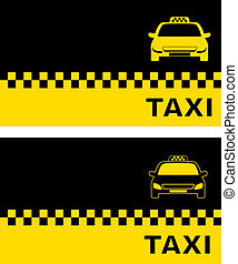 two business card with taxi