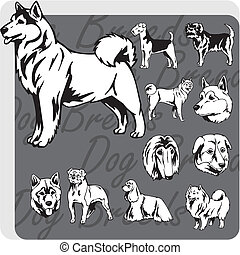 Dog Breeds - vector set - Dog breeds - vinyl-ready vector...