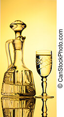 Decanter. - Elegant Crystal Decanter And Wine Glass With...