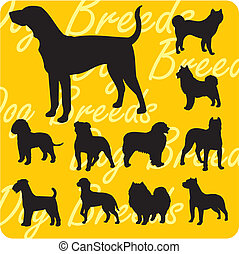 Silhouettes of Dogs - vector set. - Dog breeds - vinyl-ready...