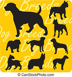 Silhouettes of Dogs - vector set - Dog breeds - vinyl-ready...