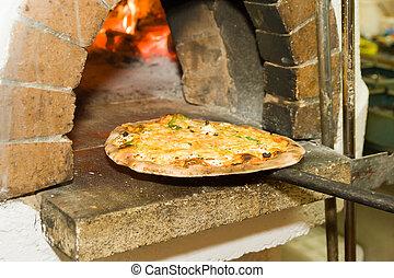 pizza, hornada, horno