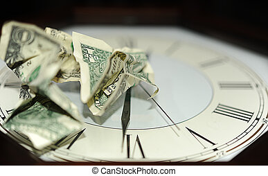 Time is Money - Crumpled One Dollar Bills On The Dial Plate...