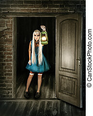 Beauty woman with lantern - Beauty fantasy woman with...