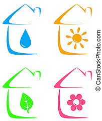 icons of eco house, heating - colorful icons of eco house...