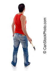 back pose of man with hammer