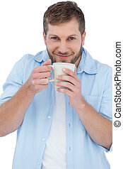 Casual model holding a mug - Casual model on white...