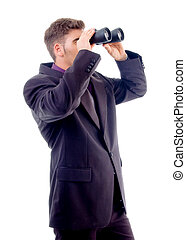 handsome young attorney with binoculars