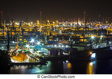 Port of Hamburg at night from Above - Aerial View from the...