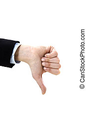 thumbs down - businesswoman showing thumbs down on white...