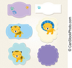 Cute Safari animals tags collection for baby boy