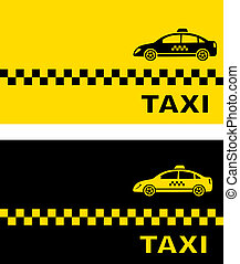 two business card with taxi car - two business card with...