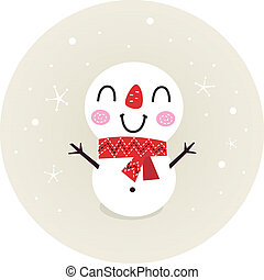 Cute retro Snowman in circle isolated on beige