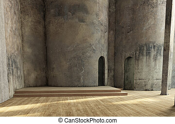 Empty industrial hall with grunchy walls and wooden floor