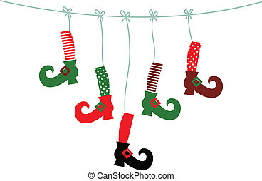 Santa legs symbols hanging isolated on white - Cute colorful...
