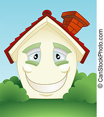 Happy smiling house character - A cute smiling happy cartoon..