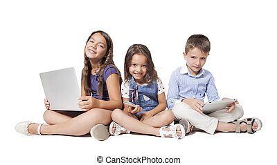 kids with new technology isolated on a white background