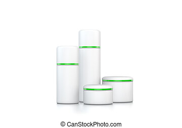 white cosmetic bottles with green stripe on white background