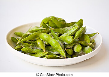 Green Japanes soybean - green Japanese soybean on white...
