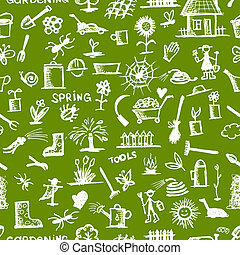 Garden tools sketch, seamless pattern for your design