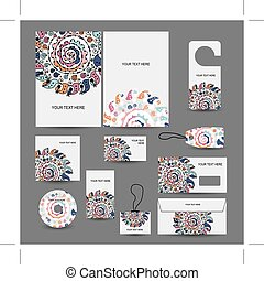 Corporate business style design: folder, labels, cards,...