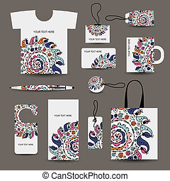 Corporate business style design: tshirt, labels, mug, bag,...