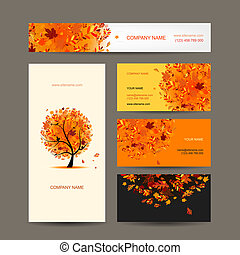 Business cards collection with autumn tree design