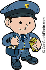 Illustration of mailman in uniform with post