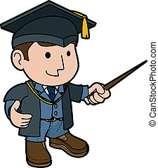 Illustration of professor in cap and gown teaching