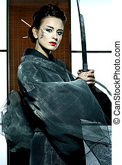 bonito, japoneses, quimono, mulher, samurai, espada