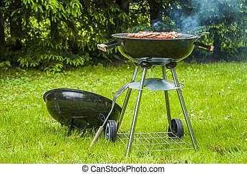 Grilled food prepared in garden - Grilling in the garden