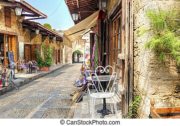 Pedestrian souk, Byblos, Lebanon - A view of the old...