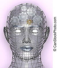 Illustration of cogs or gears in human head, representing...