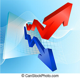 Illustration of profit and loss graph with arrows -...
